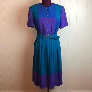 Vtg 80s/90s Color Block Dress w/ Pleated Skirt